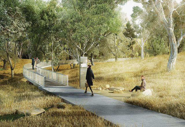 The proposed Acacia Remembrance Sanctuary, masterplanned in 2013 by McGregor Coxall and Chrofi, is a concept for a natural burial and ash interment cemetery in Bringelly, New South Wales.