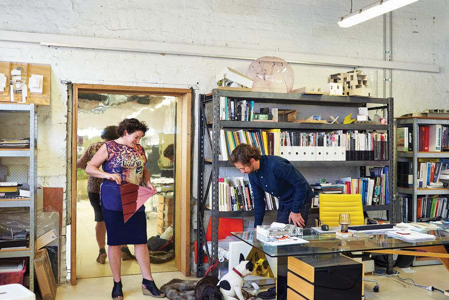 Juliet Moore and Ben Edwards in the Edwards Moore studio.