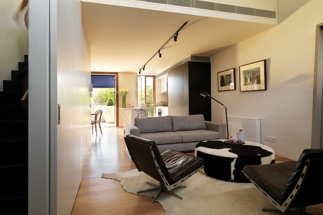 The narrow open-plan living zone.