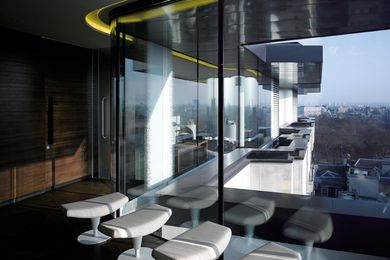 The spa is a lightweight structure on the roof, and provides amazing views of London.
