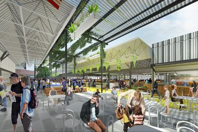 An artist impression of the Preston Market renewal works by NH Architecture and Breathe Architecture.