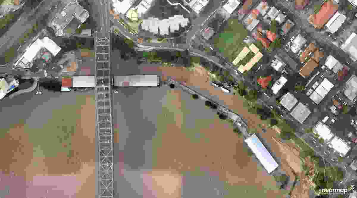 An aerial view of the Howard Smith Wharves site during the January 2011 floods.
