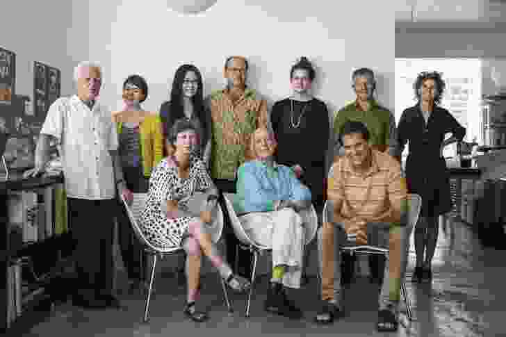 The creative team for New Zealand's exhibition: Last, Loneliest, Loveliest. Back row, L–R: Mike Austin (Unitec Institute of Technology, Auckland), Claire Natusch (graduate, Mitchell & Stout Architects), Chia-Lin Sara Lee (graduate, Mitchell & Stout Architects), Julian Mitchell (director, Mitchell & Stout Architects), Frances Cooper (graduate, Athfield Architects) Rick Pearson (director, Pearson and Associates Architects), Ginny Peddle (director, Mitchell & Stout Architects). Front row L–R: Julie Stout (director, Mitchell & Stout Architects; adjunct professor, Unitec Institute of Technology, Auckland), David Mitchell (director, Mitchell & Stout Architects), Rau Hoskins (Ngāti Hau, Ngāpuhi, director, designTRIBE architects; lecturer, Unitec Institute of Technology, Auckland).