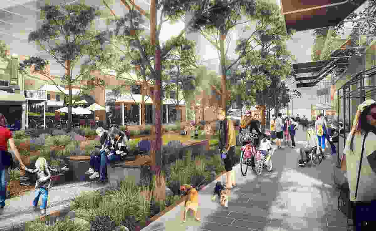 A render of Civic Link, Parramatta by SJB and Aspect Studios, award winner in the Urban Planning/Landscape Architecture category.