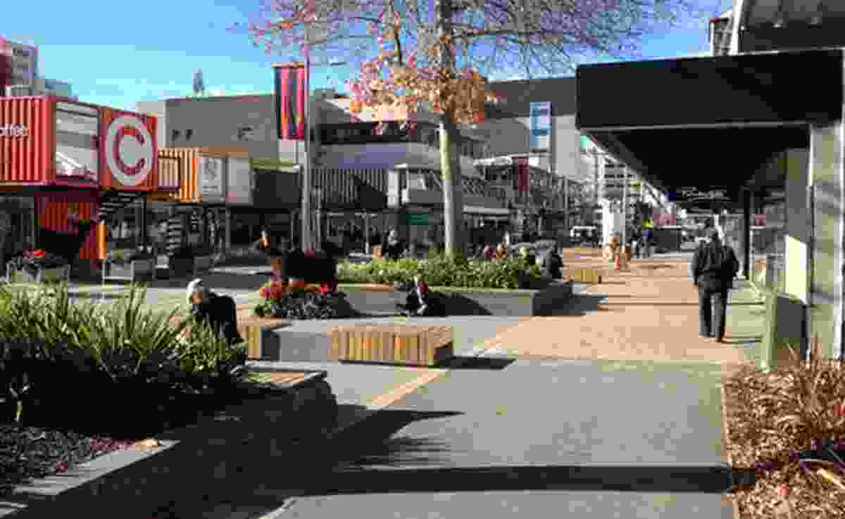A park-like retreat space on South Colombo Street, Christchurch.