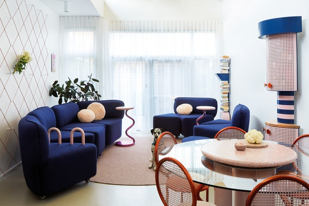 """The sofa is designed as highly mobile segments of a whole circle; it can form a """"nest"""" in the room or be broken apart, allowing for wheelchairs."""