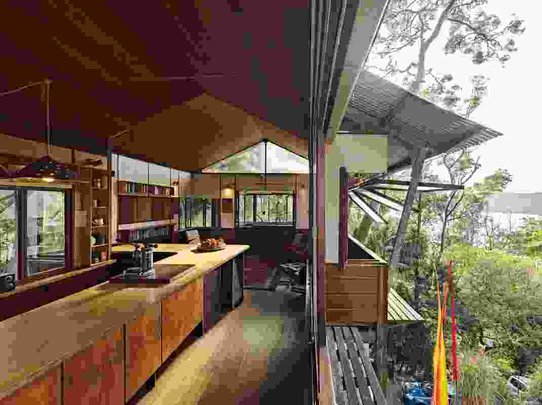 The kitchen sits on the bridge running from the winter room to the summer room tower.