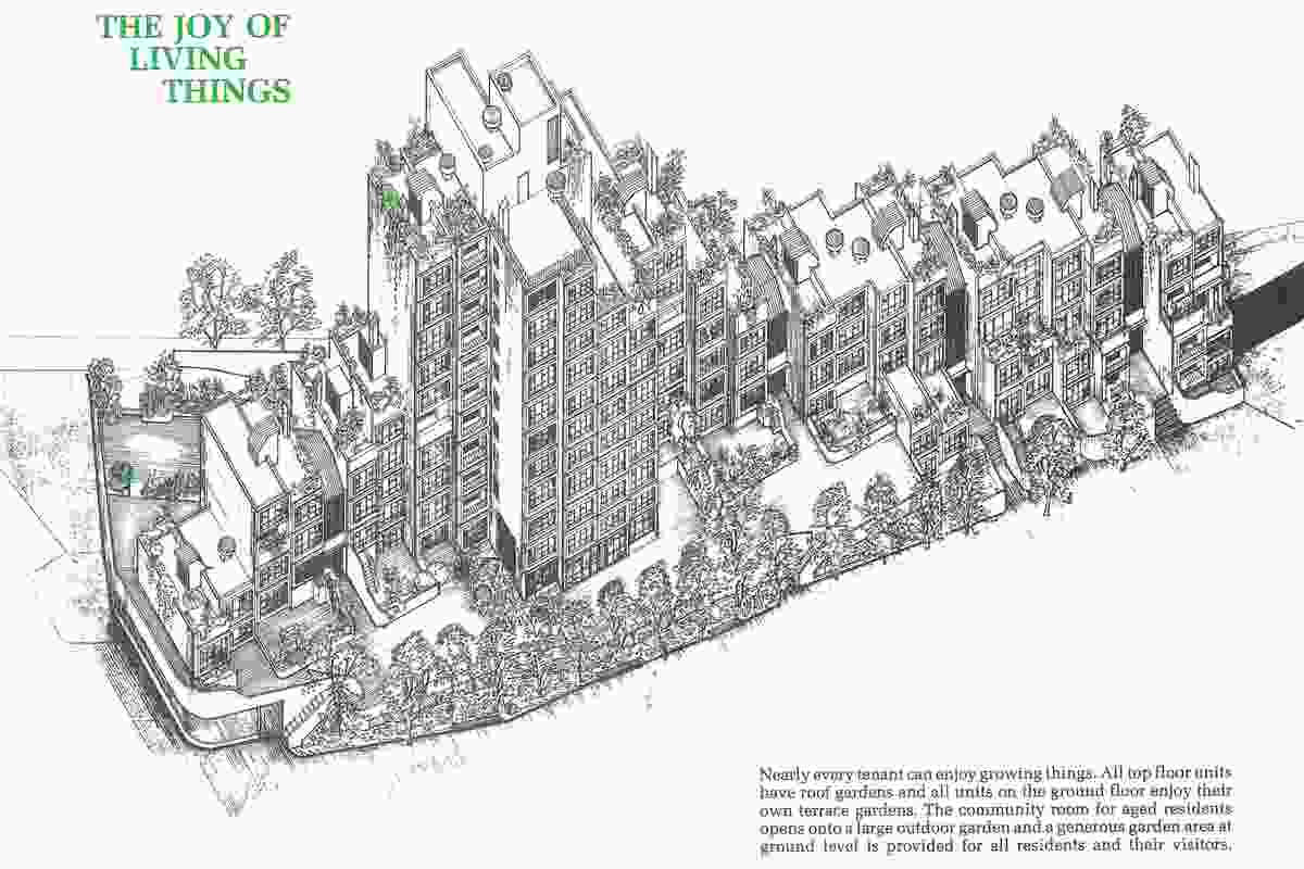 The publicity brochure shows how Sirius is designed to enable all tenants to have access to gardens.