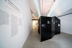 The black, folded, continuous wall within which the entries are digitally displayed.