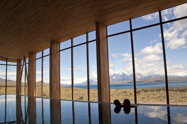 The pool in Hotel Tierra Patagonia.