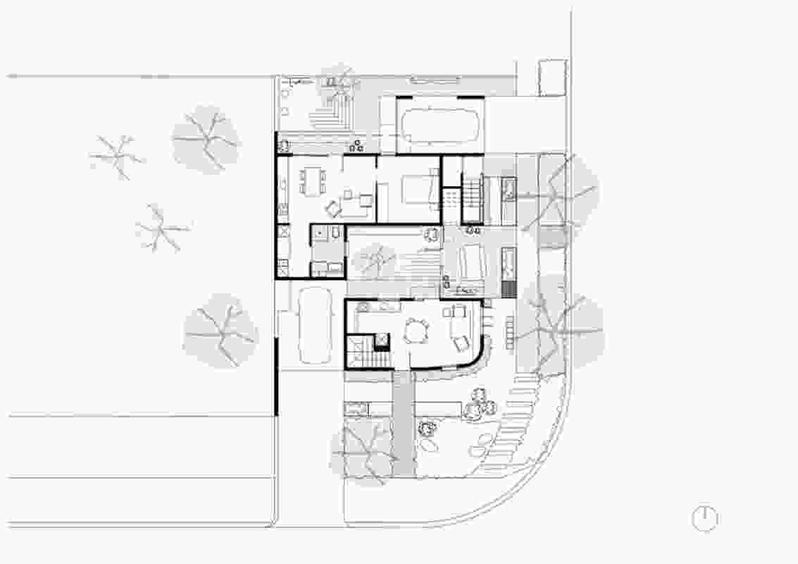Ground floor plan of the Gen Y Demonstration Housing Project designed by David Barr Architect.