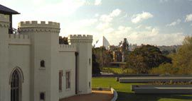 Looking over the upper terrace towards the Royal Botanic Gardens and the Opera House. Skylights for the spaces below are to the right.Image: John Gollings