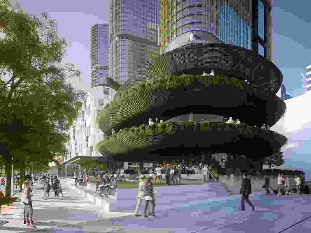 The proposed Barangaroo restaurant by Collins and Turner is oriented west to take advantage of the waterfront views.