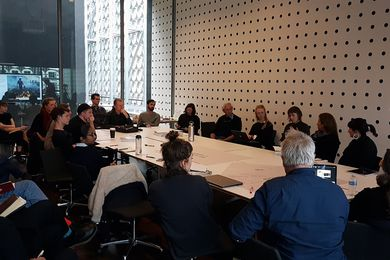 Practitioners, academics and students from the landscape profession participating in a conversation with farmer, writer and researcher Charles Massy at RMIT University.