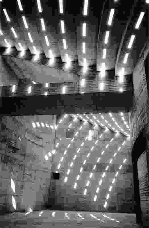 Sun patterns inside the Sydney Opera House podium, 1962.