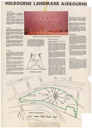 "Shortlisted entry in the 1978 Melbourne Landmark Ideas Competition: ""Melbourne Landmark Airbourne."""