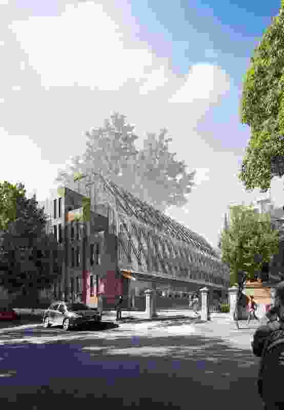 The materials of Tonkin Zulaikha Greer's proposal for a new industry hub at the University of Technology Sydney respond to adjacent Neo-Gothic school.