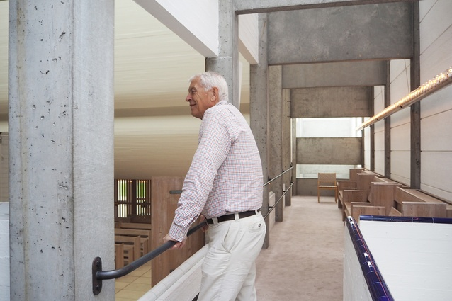 Jan Utzon in the Bagsvaerd Church, Copenhagen.
