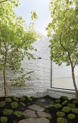 A Japanese-style courtyard on the first floor frames nature for the main bedroom and ensuite.