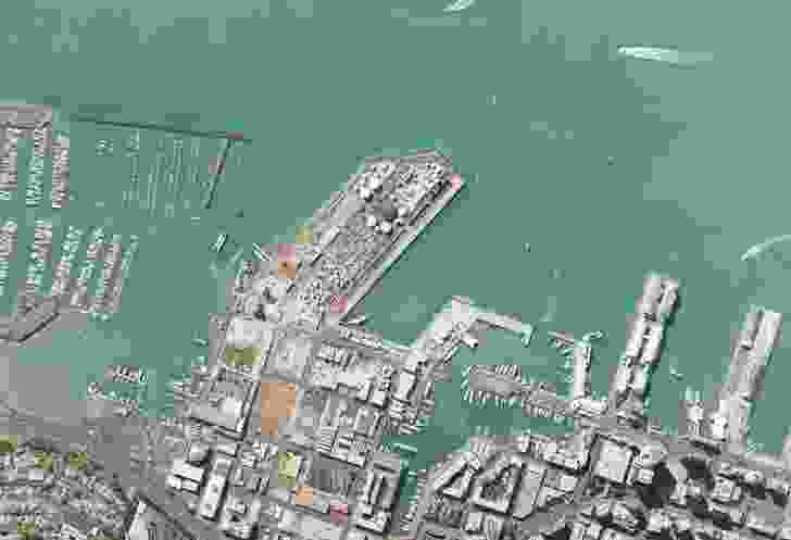 A satellite overview of Auckland's pre-development waterfront.