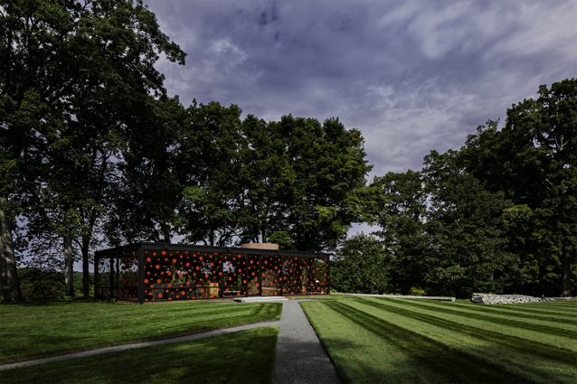 Yayoi Kusama's installation at the Glass House by Philip Johnson