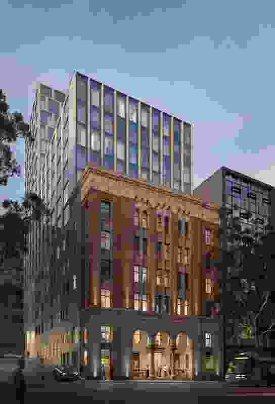 The hotel at the corner of Little Queen and Bourke Streets by Bates Smart.