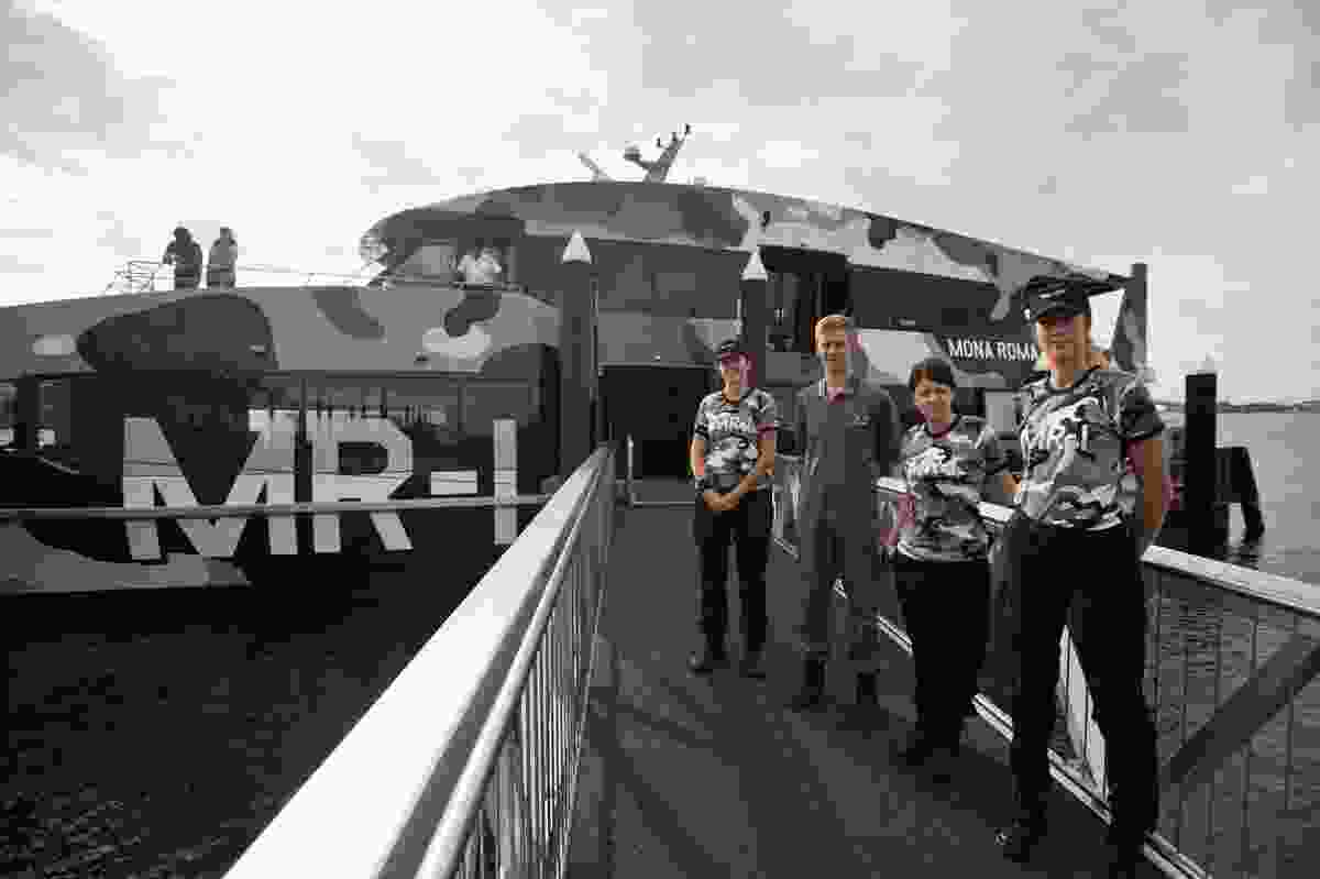 The crew in camouflage uniform.