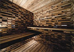 "Interior of March Studio's ""fort"" made from four-by-two planks ""smelling of farmyard hens""."