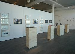Overviews of the exhibition at the Holmes à Court Gallery. Earlier projects lead up to the perceptual model, with photographic studies of each Wheatbelt town on the walls.