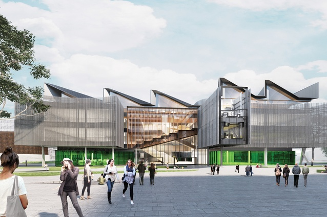 An external visualization of the building showing its northern elevation. Renders: courtesy of John Wardle Architects.