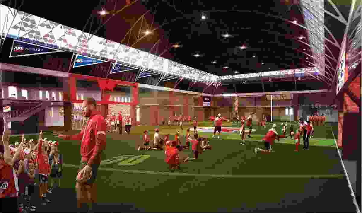 """The proposed multi-purpose Royal Hall of Industries events space in """"sports mode."""""""