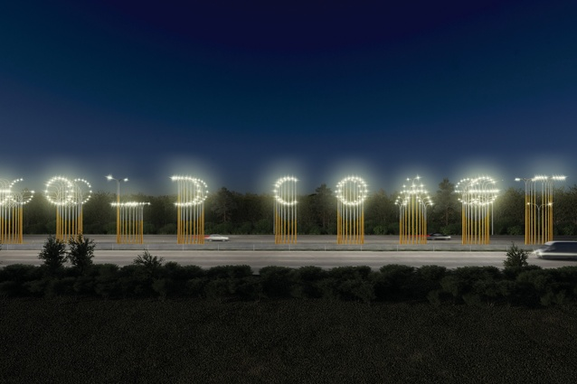 Hi-Lights, two city gateway installations by LOT-EK with Office Feuerman and Urban Art Projects, put the Gold Coast's name in lights using one hundred cleverly spaced light poles.