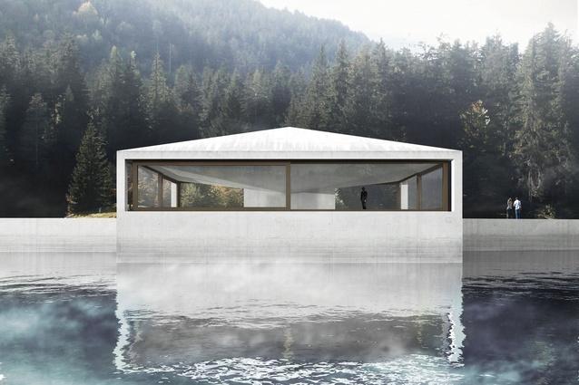 Proposed pavilion by Valerio Olgiati on the Caumasee, in Flims, Switzerland.