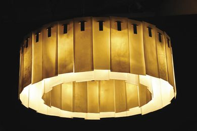 The ping chandelier was created in collaboration with ceramicist Alistair White.