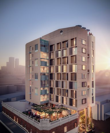 Klopper and Davis Architects propose a 10-storey timber hotel for