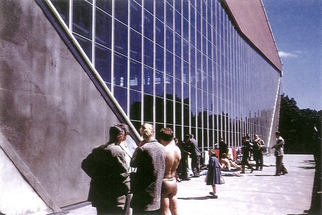 The exterior of the Swimming and Diving Stadium for the 1956 Melbourne Olympics by Peter McIntyre, Kevin Borland and Phyllis and John Murphy.