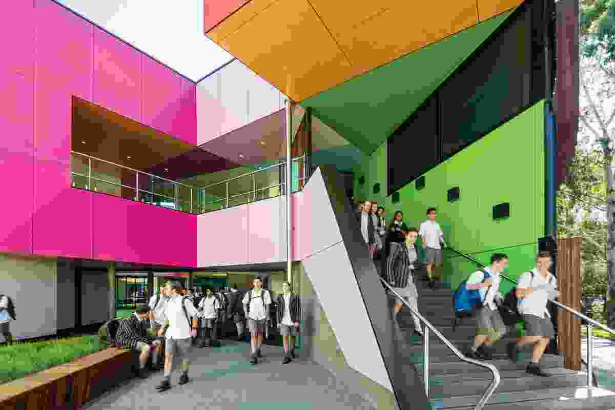 "MCR's design for Ivanhoe Grammar School (2015) showcases flexible learning spaces housed in a radial form that is broken by ""an eruption of colourful and chaotic forms."""