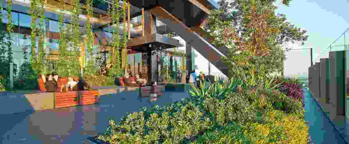 One Central Park by Ateliers Jean Nouvel, PTW Architects, Patrick Blanc (green walls), Aspect|Oculus (design development, documentation and site advice) and Turf Design Studio (concept design) for Frasers Property Australia and Sekisui House Australia, Sydney, New South Wales, 2013.