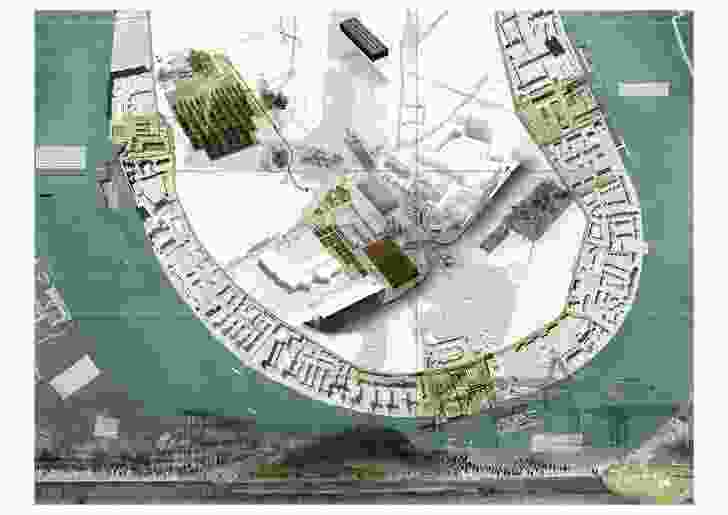 "Mais Kalthoum, Master of Landscape Architecture, University of Greenwich, The Island Factories (2018). The project proposes ""island factories"" for London's Isle of Dogs where inhabitable islands are created for Global South communities impacted by rising sea levels."