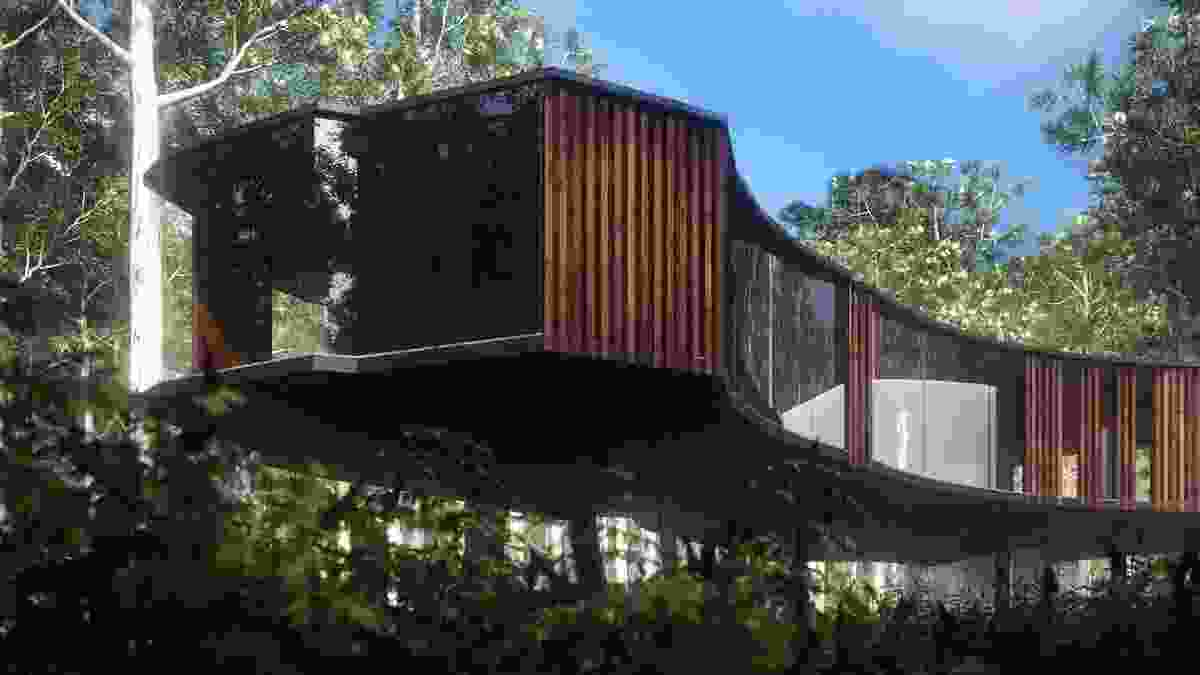 Jewell Cave Visitor Centre (competition entry 2010) in Yallingup WA by Iredale Pederson Hook Architects. Digital reconstruction by Mark Parsons.