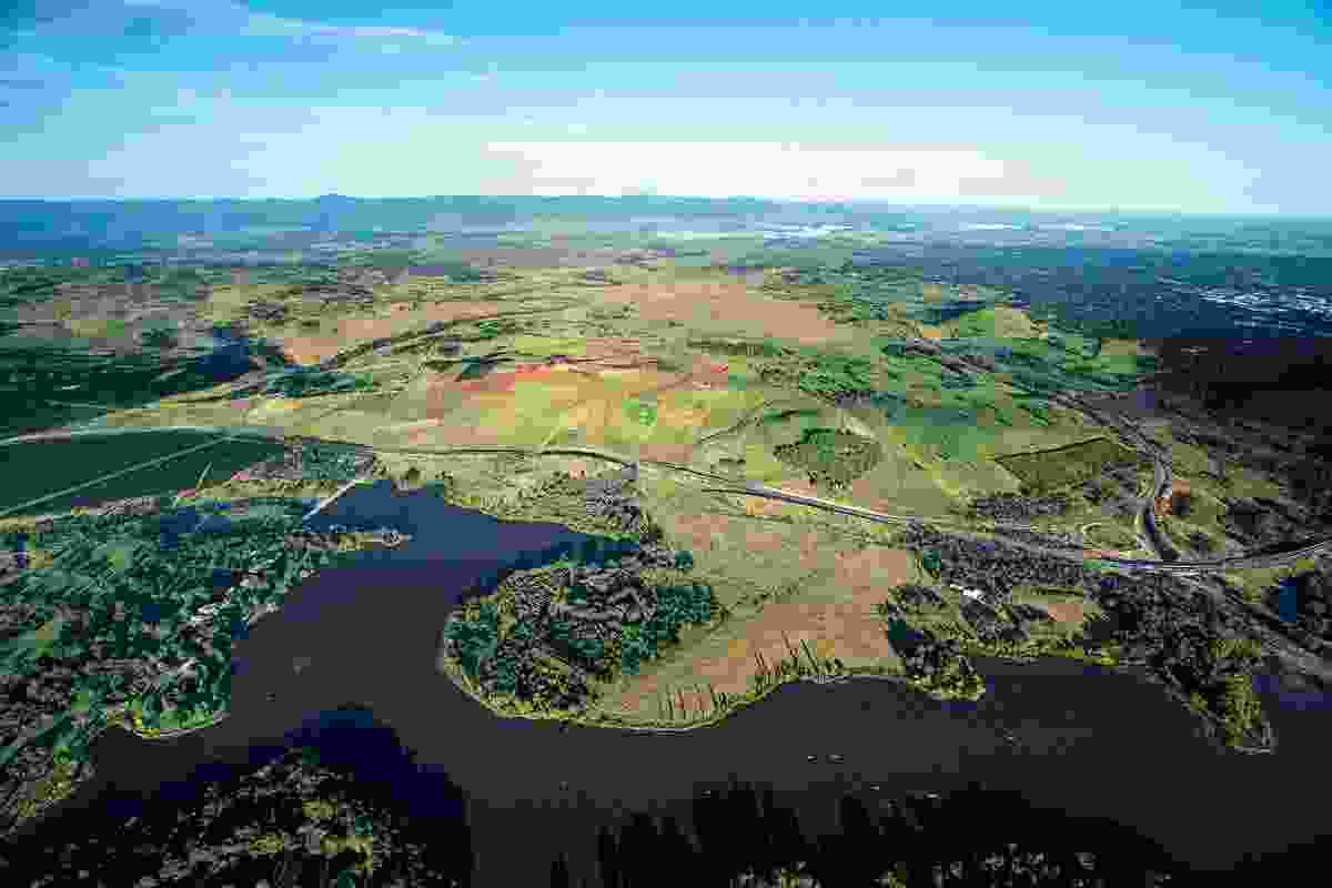 The Arboretum (centre), Lake Burley Griffin (foreground) and Canberra (right).