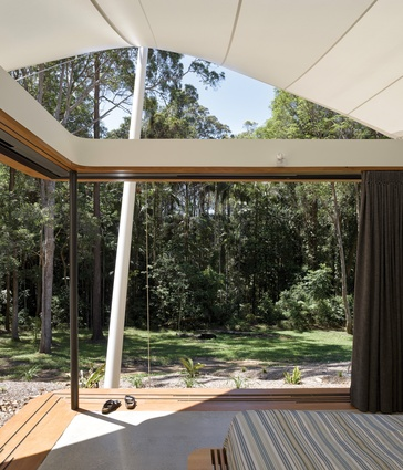 The canopy structure provides a natural cooling system generated by the movement of air over parabolic curves.