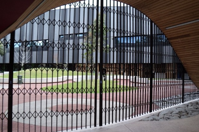 Penleigh and Essendon Grammar School is secured by the Australian Trellis Door Company's curved trellis security doors.