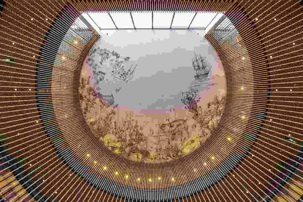 A mural on the ceiling of the library by Andrew Nicholls titled Delight and Hurt Not features Western Australian native flora, fauna and historical narrative.