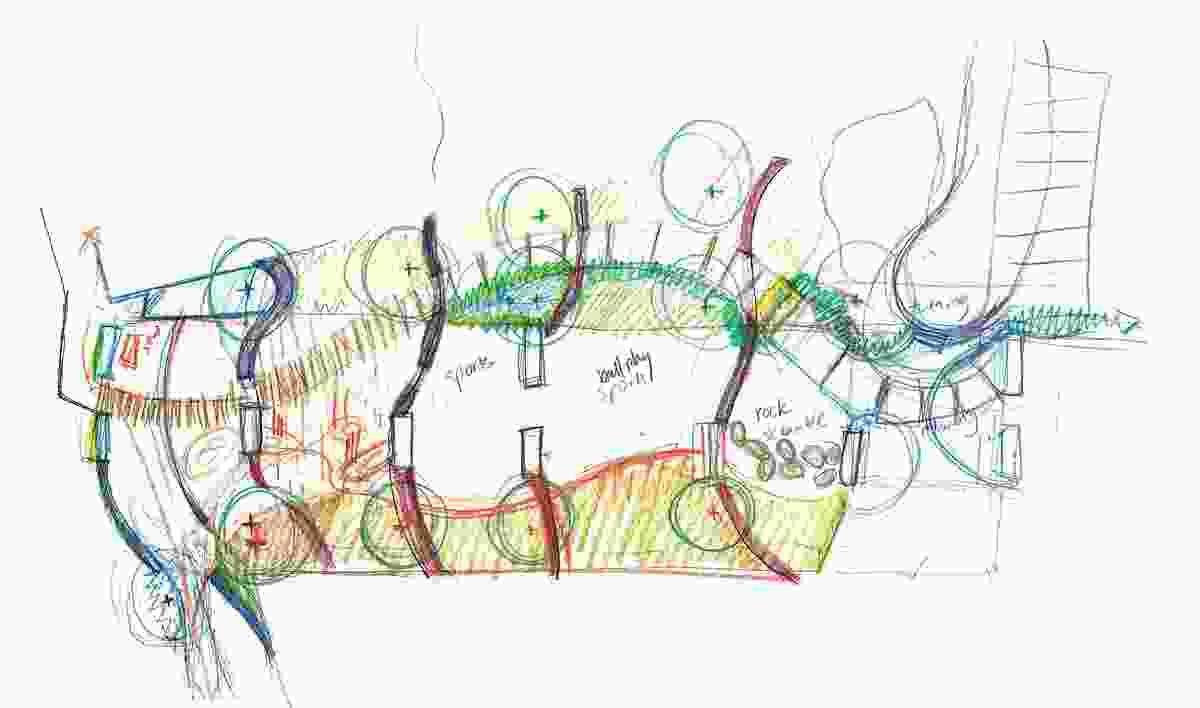 An early concept sketch of Bridge Park.