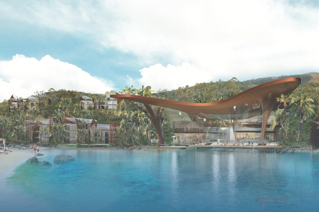 An artist's visualization of the proposed Lindeman Great Barrier Reef resort, prepared by DBI Design.