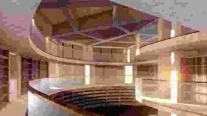 A library in the proposed MONA Motown by Fender Katsalidis.
