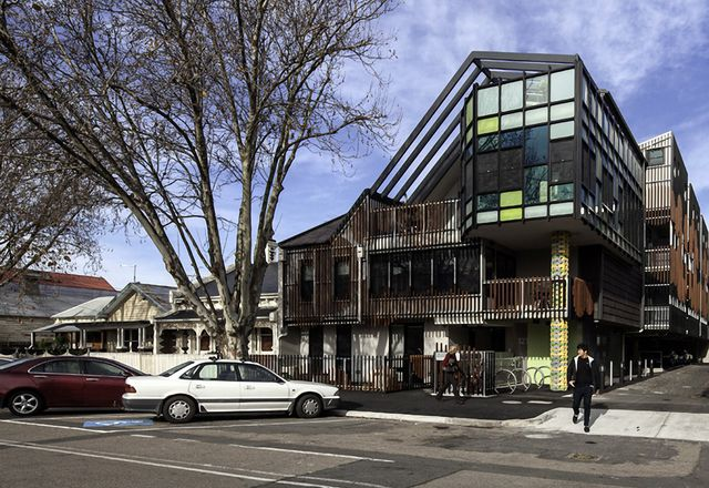 Getting more out of 'lazy' land, such as this community housing built over a Port Phillip City Council-owned car park by MGS Architects, is a key strategy to reduce the shortage of affordable housing.