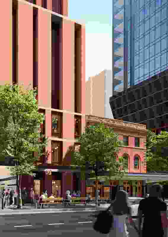 The build-to-rent apartment tower above Sydney Metro Pitt Street South Station, designed by Bates Smart.