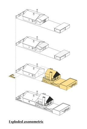 Exploded axonometric diagram of Local House by Make Architecture